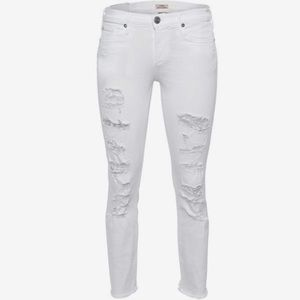 True Religion White Cora Mid Rise Straight Jeans